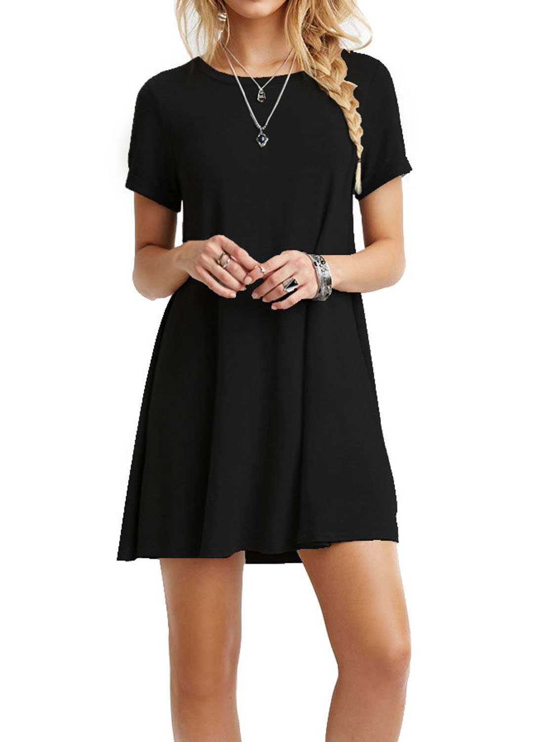 TINYHI Women's Swing Loose Short Sleeve Tshirt Fit Comfy Casual Flowy Tunic Cotton Dress Black,Medium