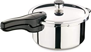 Presto 4 Quart Stainless Steel Pressure Cooker, Includes a Free Recipe Book, Chrome