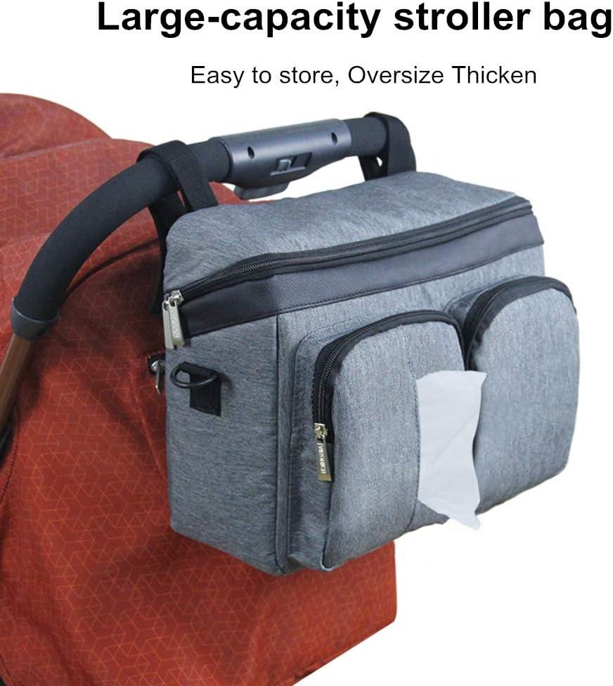 Pushchair Buggy Organiser Bag Stroller Storage Wipes Cup Holder Shoulder Strap