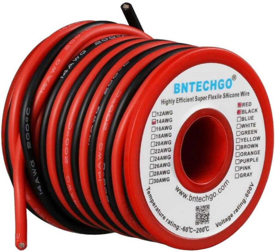 24AWG 1M Black + 1M Red Boladge 2M Pure Silicone Wire 8AWG 10AWG 12AWG 14AWG 16AWG 18AWG 20AWG 24AWG RC Cable Lead