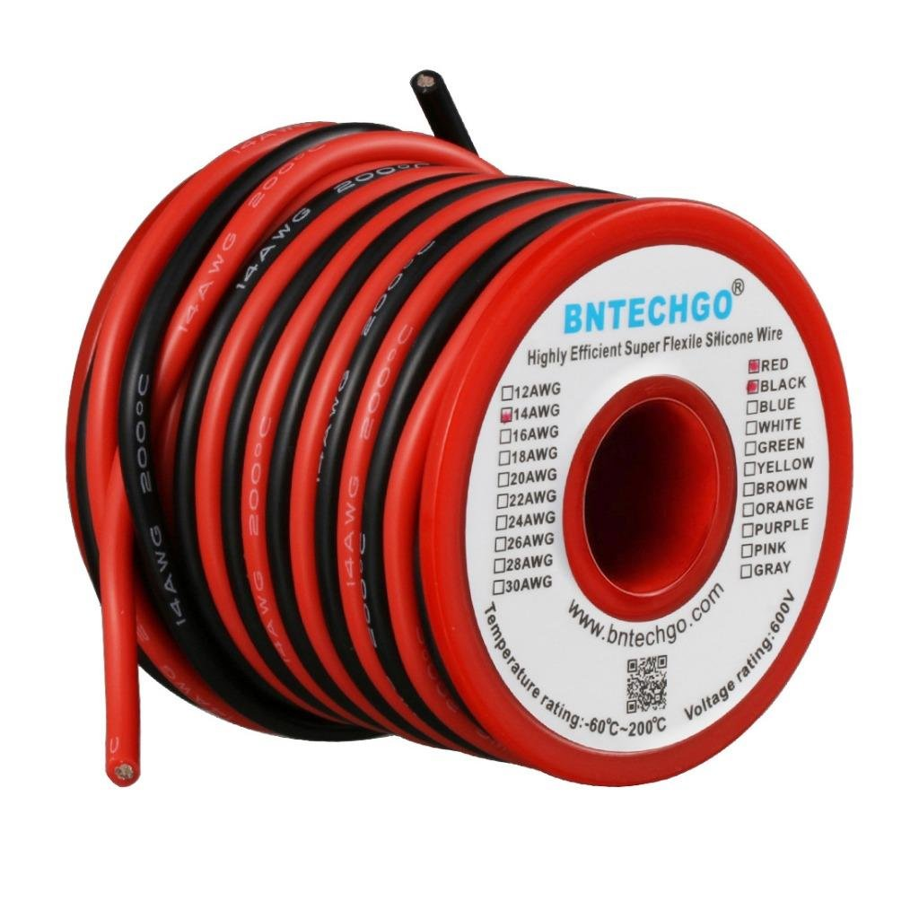 BNTECHGO 14 Gauge Silicone Wire Spool 40 feet Ultra Flexible High Temp 200 deg C 600V 14 AWG Silicone Wire 400 Strands of Tinned Copper Wire 20 ft Black and 20 ft Red Stranded Wire for Model Battery