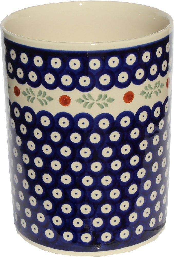 Polish Pottery Utensil Jar From Zaklady Ceramiczne Boleslawiec #832-242, High: 7'' Diameter: 5.9'' by Polish Pottery Market