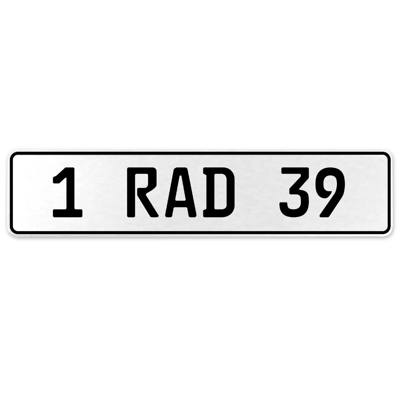 Vintage Parts 554042 1 RAD 39 White Stamped Aluminum European License Plate