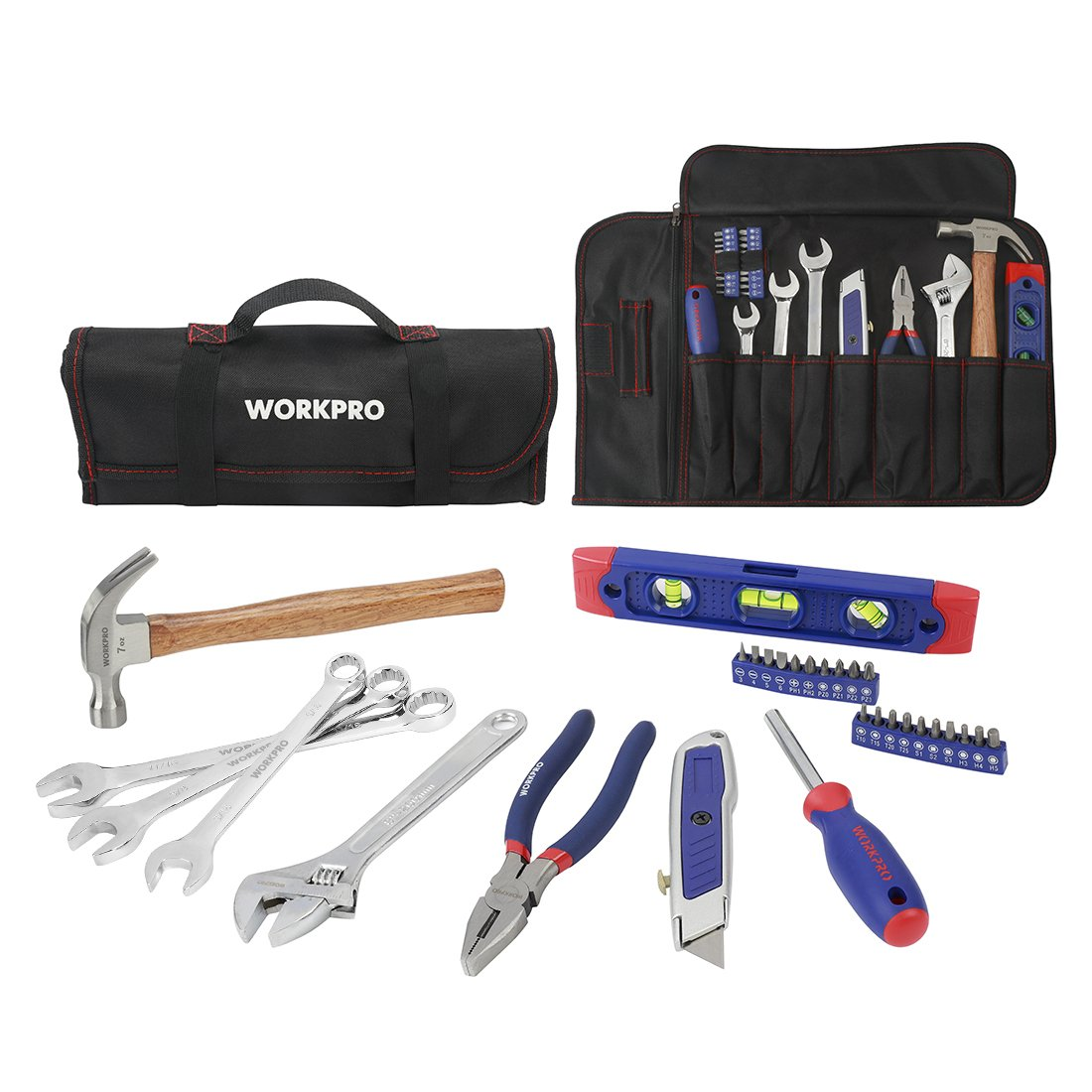 WORKPRO 29-piece Tool Set Homeowners Repair Kit with Rolling Bag
