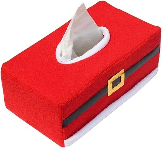 LUOEM Caja de Pañuelos de Papel Estilo Navidad de Fieltro Rojo para Decoración de Navideño: Amazon.es: Hogar