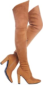 Shoe'N Tale Women Stretch Suede Chunky Heel Thigh High Over The