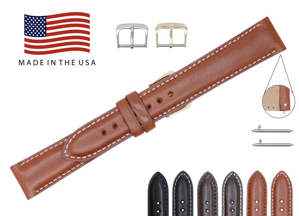Quick Release American Saddle Genuine Leather Watch Strap Band – American Factory Direct - Gold & Silver Buckles – Made in USA by Real Leather Creations 24mm Cognac CS FBA782