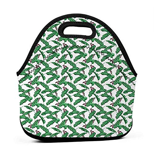 Tote Waterproof Outdoor Banana Leaf,Lush Jungle Leafage Flowering Stems of Island Tree Hawaiian Aloha Pattern,Green Plum White,large women lunch bag for work insulated