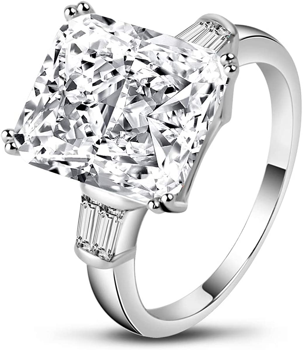 Brilliant Embers 925 Sterling Silver Rhodium-plated Square CZ Bridal Engagement Ring Size 6
