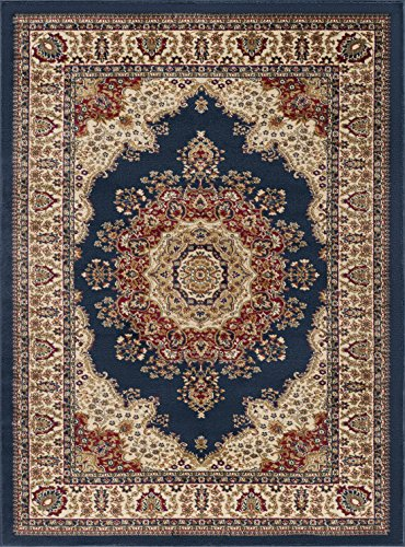 Rectangle Navy Rug (Fiona Traditional Oriental Navy Rectangle Area Rug, 5' x 7')