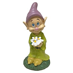 The Galway Company Dopey Holding His Flower Outdoor Statue, Large 10 Inches, Classic Snow White & 7 Dwarfs Collection, Hand-Painted, Official Disney Licensed Product