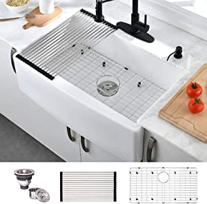 HOSINO 33 Inch Handcrafted Fireclay Kitchen Sink, Apron Front Sink Single Bowl Farmhouse Sink White Farmers Sink 33x21x10 Extra Deep Wide Kitchen Sink Curved Front Rustic Sink