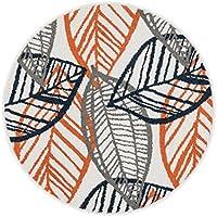 Loloi Rugs TERCHTC17IVOR300R Terrace Indoor/Outdoor Round Area Rug, 3-Feet 0-Inch 3-Feet 0-Inch, Ivory/Orange