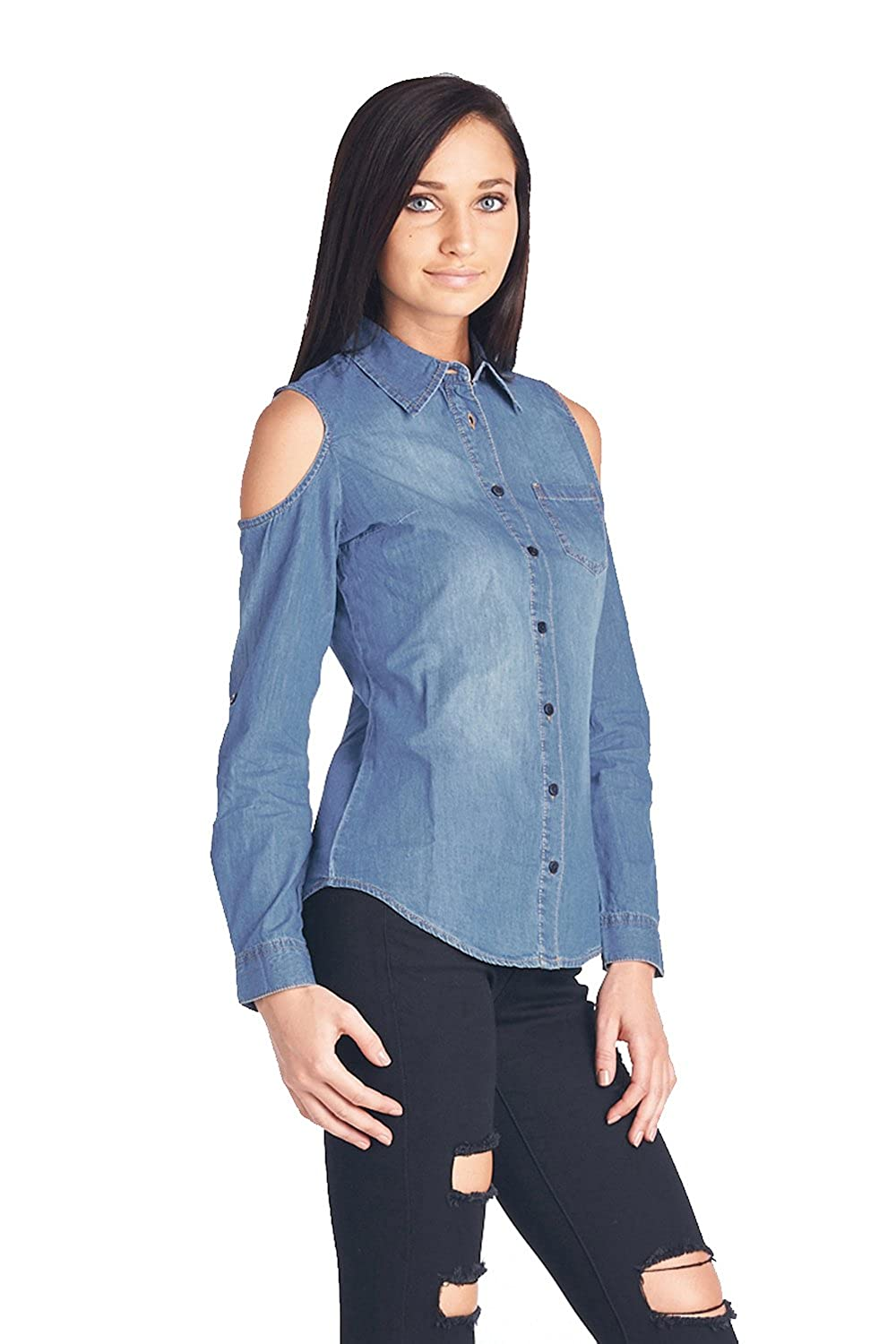 d4796eb0438 Blue Age Womens Chambray Denim Shirt Blouse Denim Tops at Amazon Women s  Clothing store