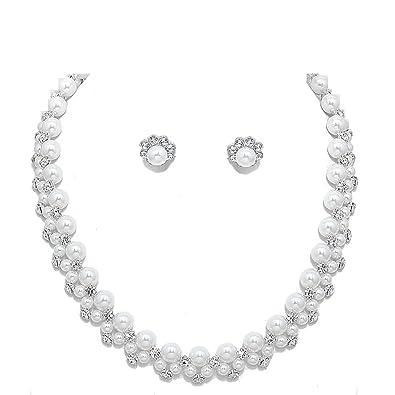 139a99af44af Glamour boda novia joyas joyas Juego Set Collar Perlas Color Blanco  transparente  Amazon.es  Joyería