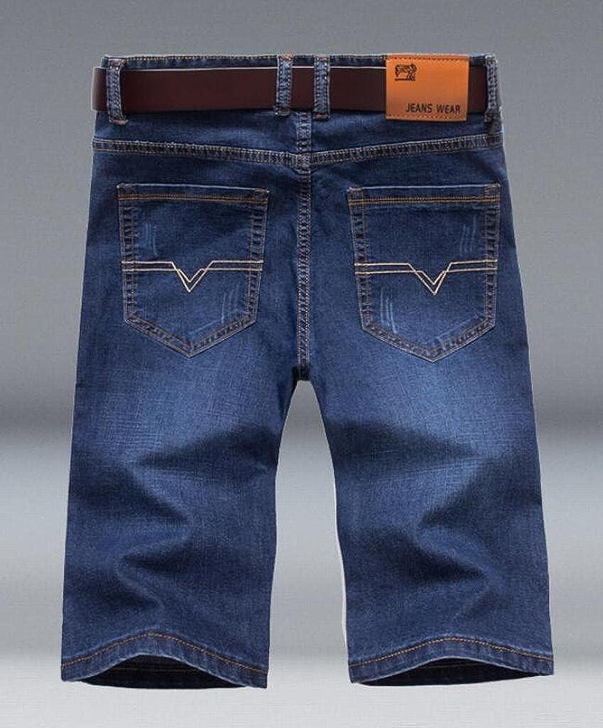 Fubotevic Mens Summer Slim Fit Straight Leg Stretchy Denim Shorts Cropped Pants Jeans