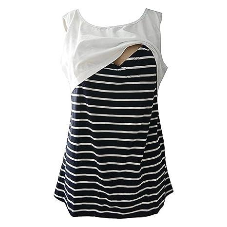 URSING_Damen Still Umstands-Top Lagendesign Schwangeres Still-Shirt Gestreift Drucken Stillen Top Kurzarm T-Shirt Bluse Umsta