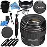 Canon EF 85mm f/1.8 USM Lens 2519A003 + 58mm Macro Close Up Kit + Lens Cleaning Kit + Lens Pouch + Lens Pen Cleaner + 58mm Tulip Lens Hood + Fibercloth Bundle