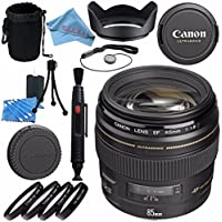 Canon EF 85mm f/1.8 USM Lens 2519A003 + 58mm Macro Close Up Kit + Lens Cleaning Kit + Lens Pouch + Lens Pen Cleaner + 58mm Tulip Lens Hood + Fibercloth Bundle
