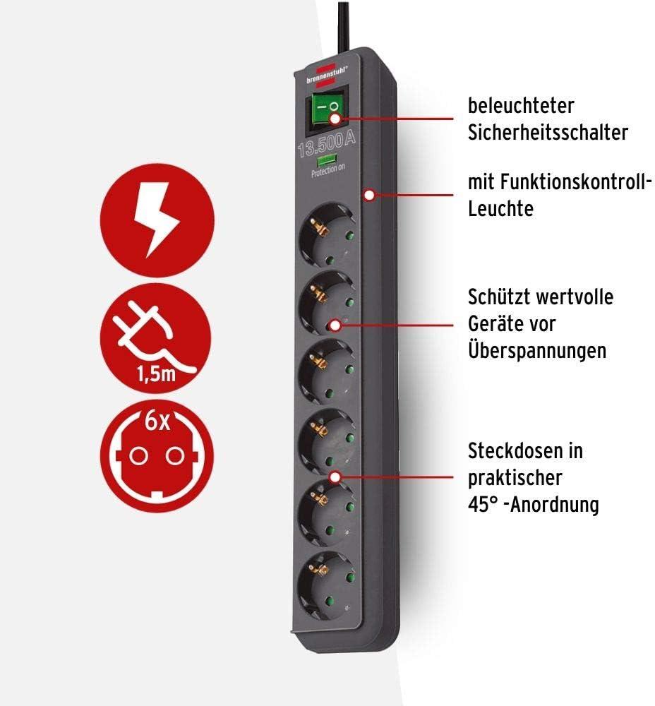 Brennenstuhl 13500A Überspannungsschutz Steckdose Blitzschutz 6-fach schwarz 1,5