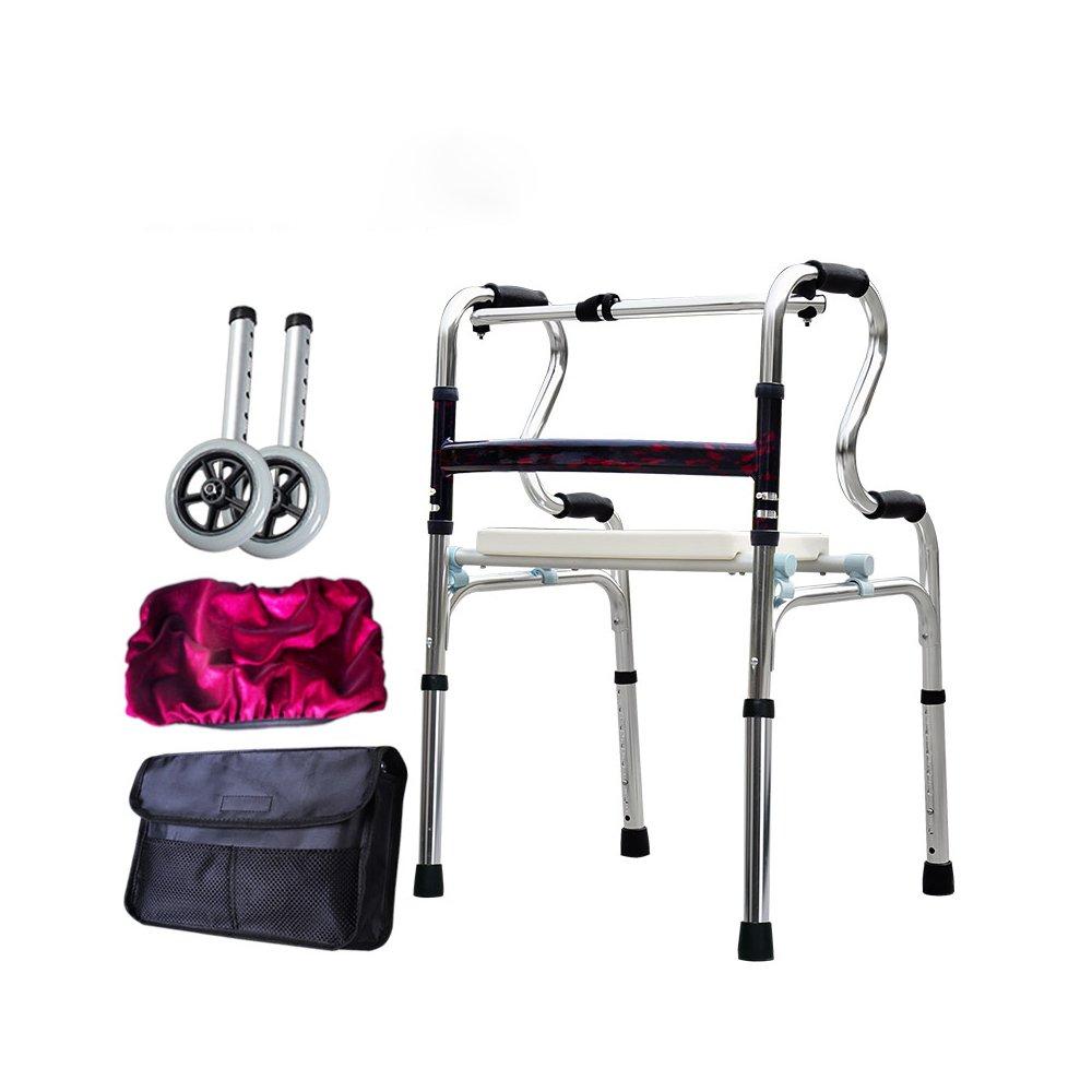 トイレシート 歩いている老人の助けを借りて歩くアルミ合金ベルトホイール4フィートの松葉杖障害のある歩くスティック (色 : D) B07D8J8HQX D D