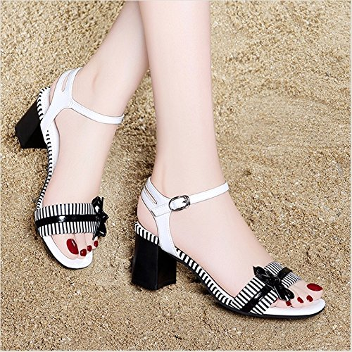 And Summer Thick Heel New heels With White High Heels Lady Girl Jqdyl High Sandals xwRvYq