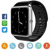 CatShin Smartwatch Android y IOS-Reloj Inteligente Reloj Deportivo Pulsera Actividad Con Pulsómetro Podómetro,Monitor de Calorías,Anti-Pérdida Reloj Deporte Smart Watch Para Hombre Mujer y Niñas-Plata