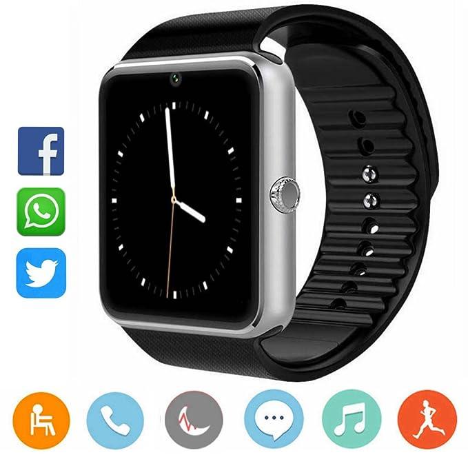 CatShin Smartwatch Android-Reloj Inteligente Reloj Deportivo Ranura de Tarjeta SIM,Podómetro,Monitor de Calorías,Anti-Pérdida,Twitter, Whatsapp-Reloj ...