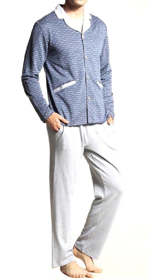Zimaes-Men Basic Style Casual Loose Fine Cotton Pajama Sleep Set 1 L
