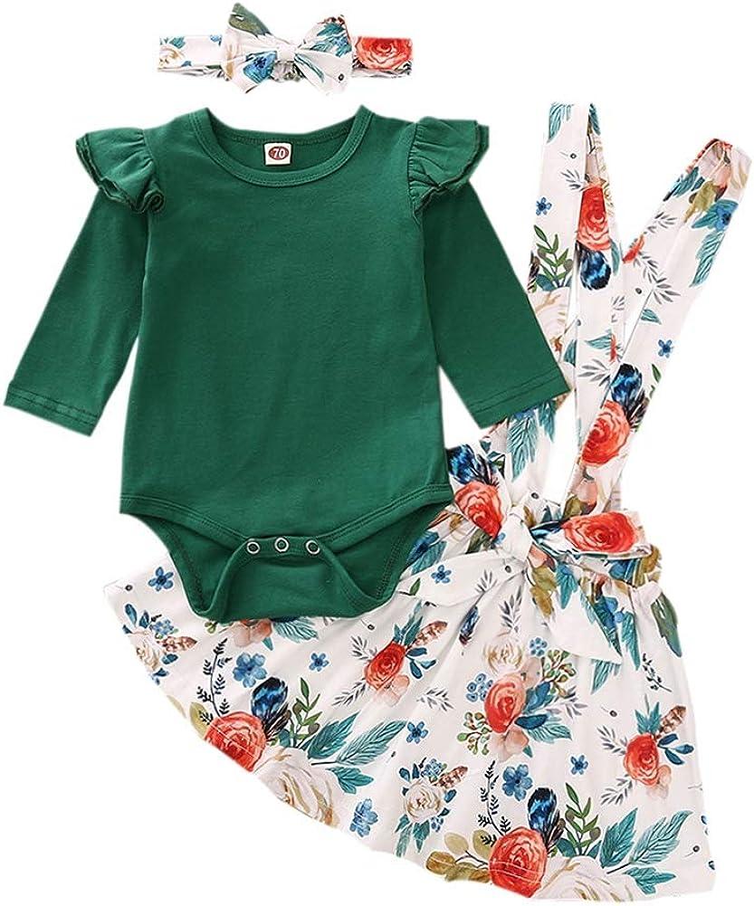 URMAGIC Conjuntos de Ropa para bebés, 3 Piezas, Mamelucos Florales para niñas Mono con Volantes de Manga Corta Mono + Faldas con Volantes con Diadema Trajes Cortos de Verano