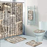 Philip-home 5 Piece Banded Shower Curtain Set Retro Vintage French Newspaper Nostalgic Antique DatedPast ful Design Cream Tan Taupe for Hotel Pattern Printing Suit