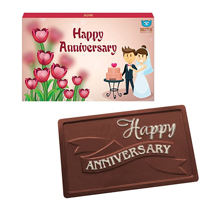 BOGATCHI Anniversary Gift for Parents, Greetings, Dark Chocolates, Love Chocolates, Premium Chocolates, 70 g
