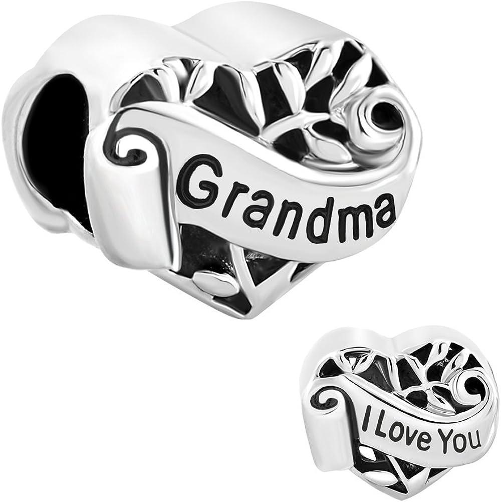 CharmSStory Grandma/Wife/Sister/Niece/Aunt Heart I Love You Beads for Bracelets