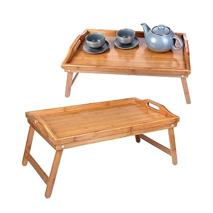 Schramm® 2 Unidades Desayuno Bandeja bambú Bandeja bambú – Bandeja Plegable para Desayuno en la