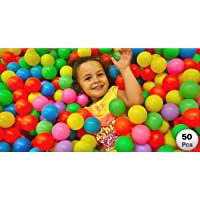 EEVOVEE Kid's Plastic Pool Balls without Sharp Edges (Multicolour, 8 cm)-Set of 50