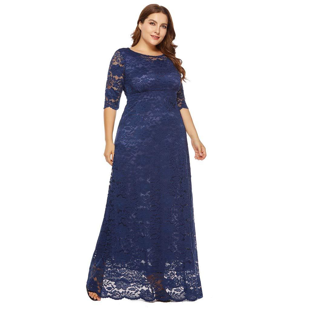 Gyouanime Plus Size Dress Long Maxi Dress Women Lace Floral Dress Cocktail Formal Swing Dress