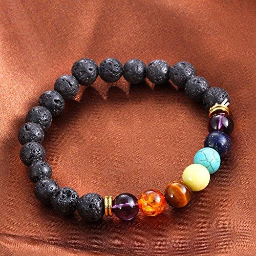 GUARD KumbhaMela 7 Color Chakra Lava Healing Balance Beads Bracelet For Reiki Prayer Yoga Volcanics Bracelet Stones