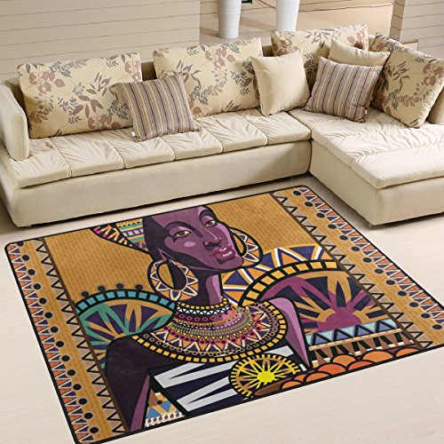 SAVSV Large Area Rugs Ornament With An African Woman Printed,Lightweight Water-Repellent Floor Carpet For Living Room Bedroom Home Deck Patio,6'8