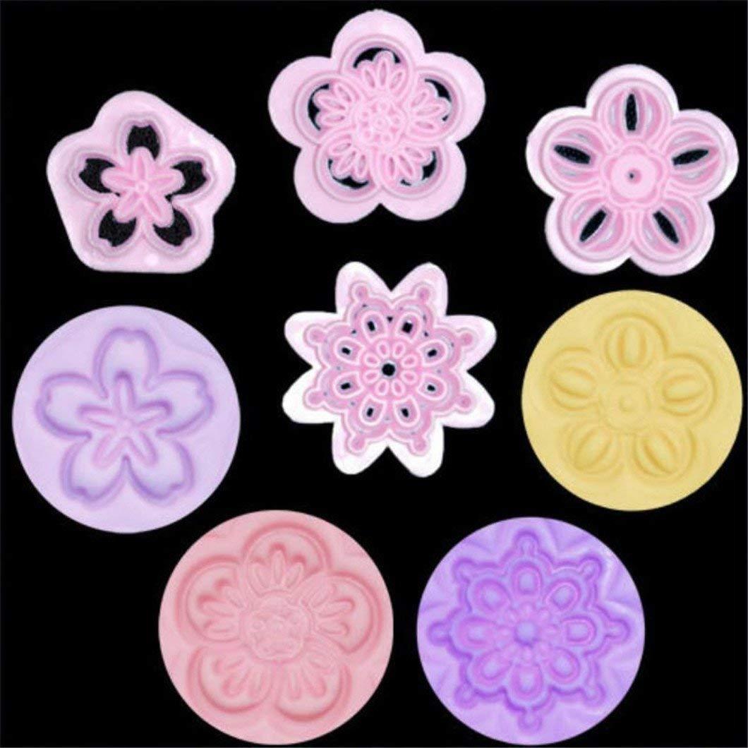 Xeminor Premium Quality 4 Pcs/Set Flower Fondant Cake Decorating Biscuit Cookie Sugarcraft Stamp Embosser Cutter Mould Mold DIY Baking Tools