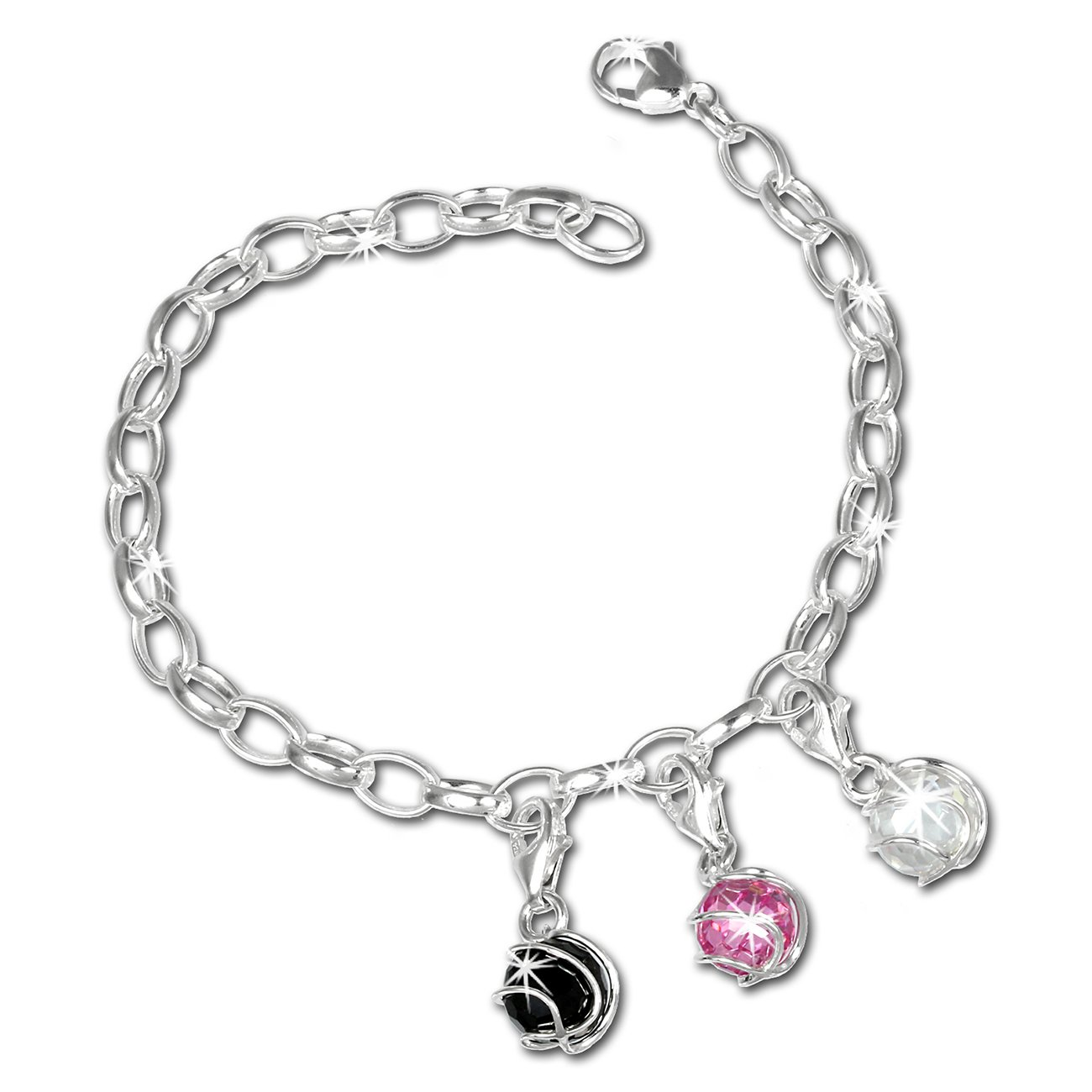 SilberDream Charms Armband Set - Kugel - 925 Sterling Silber Charm Armband und Anhänger - FCA311 Charms Sets