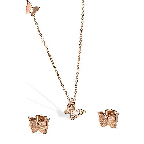 Cupimatch Mariposa Pendientes Mujer Cadena Set Pendientes ...