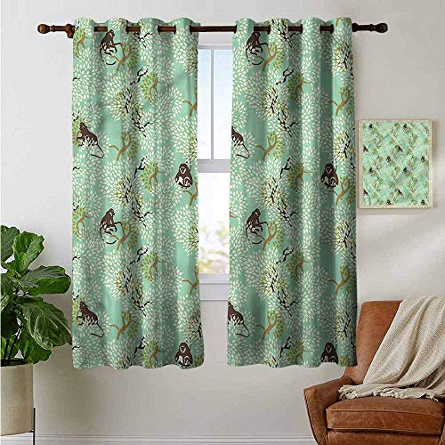 petpany Room Darkening Wide Curtains Nature,Jungle Motif with Monkeys,Light Blocking Drapes with Liner 42
