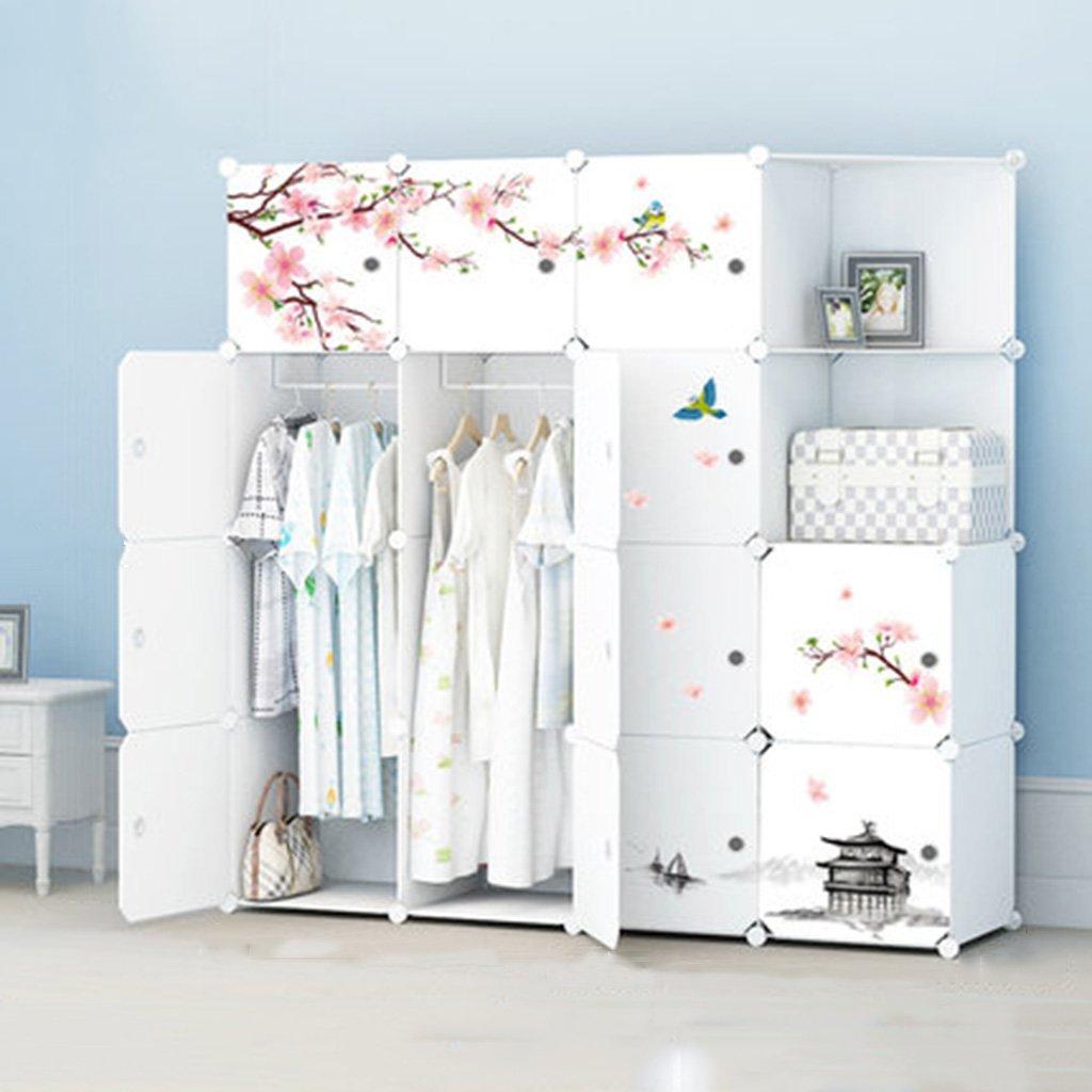 Assembled wardrobe Kleiderschrank Kunststoff Montagekombination Falten Einfache Moderne Lagerung Locker Design : D