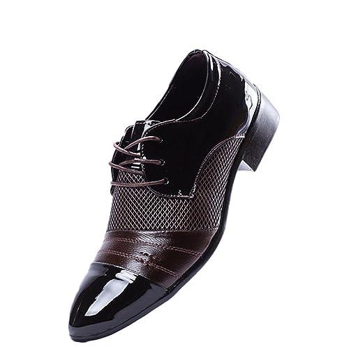 Zapatos De Cuero Hombre Marrón Corbata Casual Suave Zapatos De ...