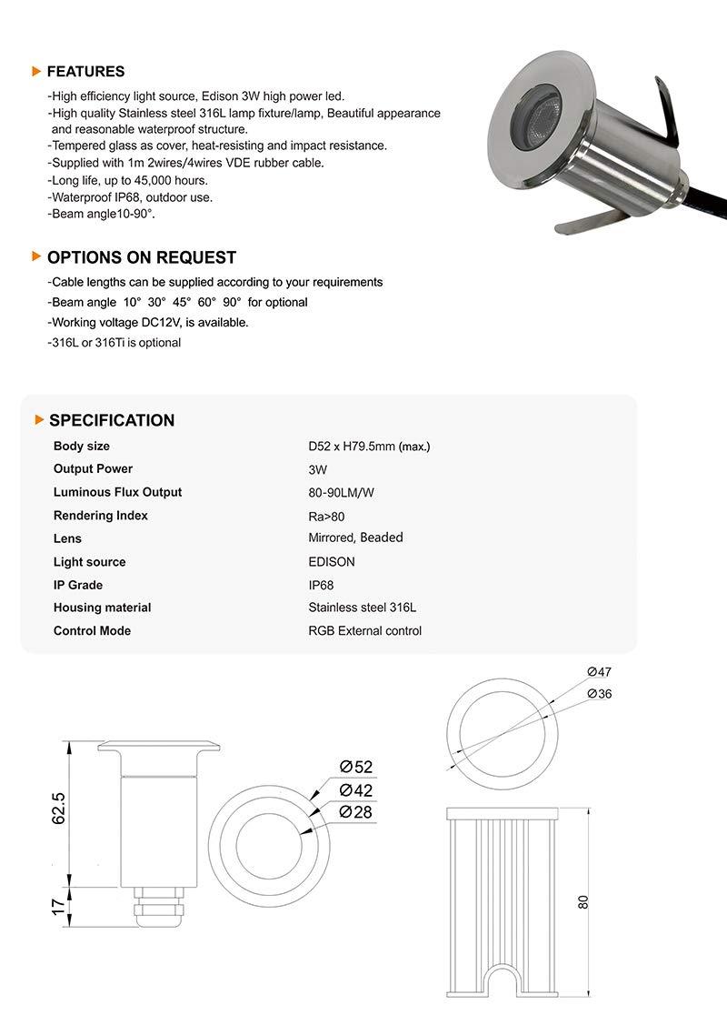 König LED Foco de suelo Pro 12 V 52 x 56 mm IP68 Protección de iluminación para exteriores, bajo agua, terrazas, madera, piedra, peatonal: Amazon.es: ...