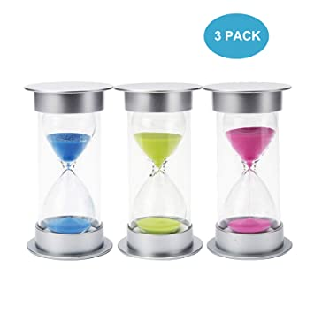 sand timer set 3 packs 5 10 15 minute hourglass glass timer clock
