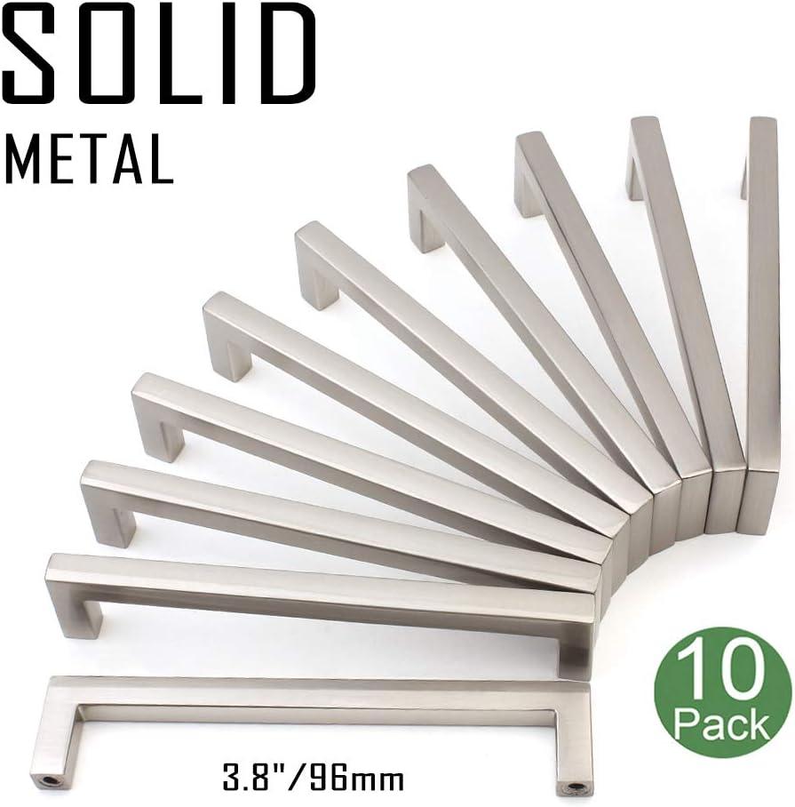 Koofizo Solid Square Bar Cabinet Handle - Nickel Furniture Pull, 3.8 Inch/96mm Screwhole Distance, 10-Pack for Kitchen Cupboard Door, Bedroom Dresser Drawer, Bathroom Wardrobe Hardware