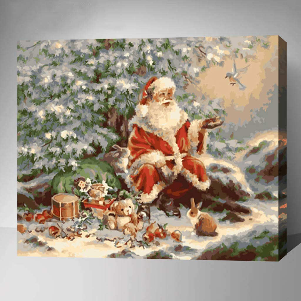 MADE4U [ 20'' ] [ Christmas Series ] [ Thicker (1'') ] [ Wood Framed ] Paint by Numbers Kit with Brushes and Paints (Christmas HHGZGX21563) by Made4u