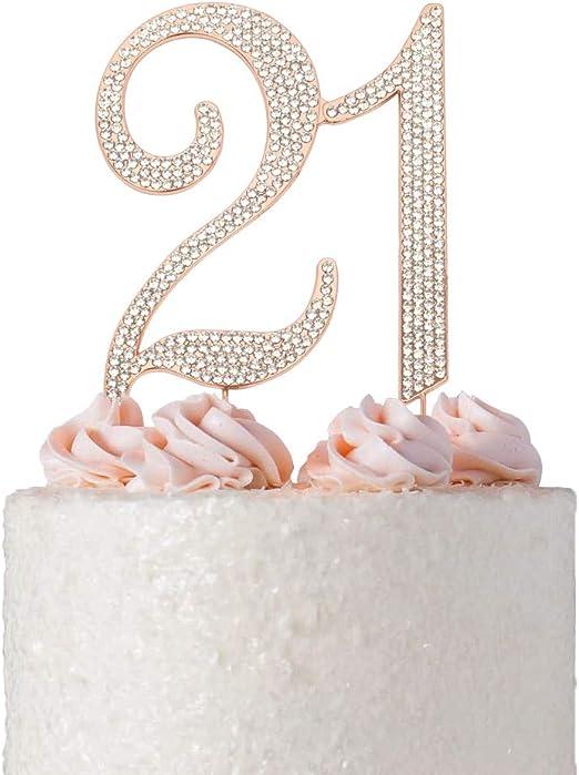 Wondrous Premium Metal Number 21 Rose Gold Rhinestone Gem Cake Topper 21St Birthday Cards Printable Giouspongecafe Filternl
