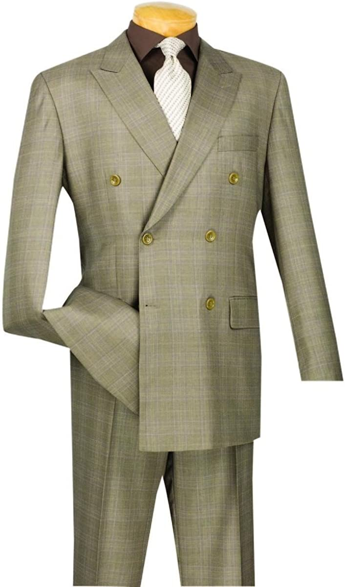 VINCI Men's Wool Feel 6 Button Double Breated Glen Plaid Suit DRW-1